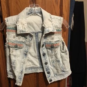 Vanilla Star Distressed Denim Vest